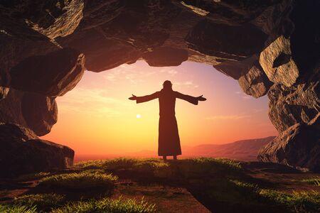 Mann, der in der Höhle betet.3d render Standard-Bild