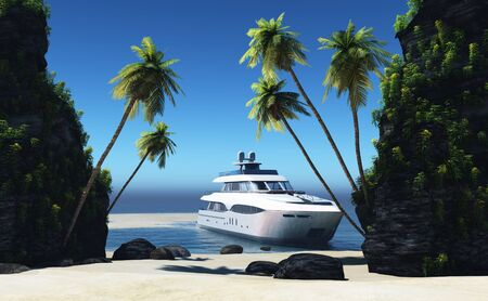 Modern yacht and an island in the sea. , 3d render