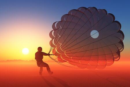 Parashutist a parachute in the sky., 3d render
