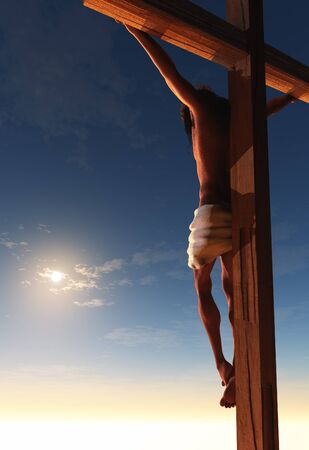The Christ on a background of the landscape. ,3d render