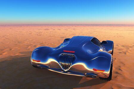 Voiture de sport dans le désert. , rendu 3D Banque d'images