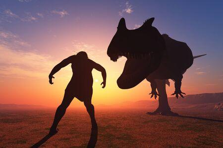 Primitive man and dinosaur.,3d render