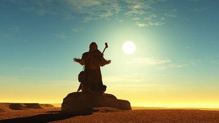 Jesus in the desert.,3d render