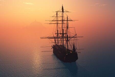 Voilier vintage dans la mer au coucher du soleil. Rendu 3D