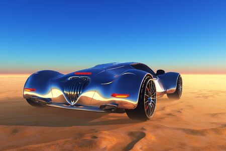 Sports car in the desert. ,3d render