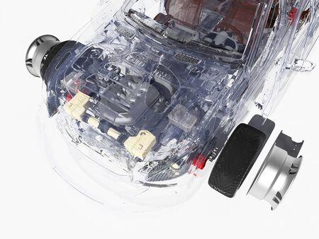Modellini di auto su uno sfondo bianco. 3D render Archivio Fotografico