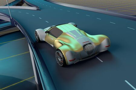 Sports car on the road.,3d render Stock Photo