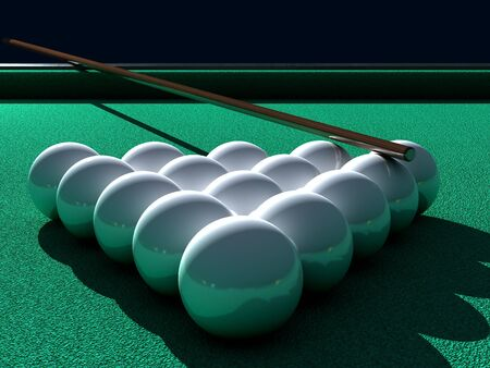 Balls on a green table.,3d render