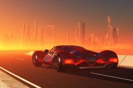 Sports car on the road.,3d render 写真素材
