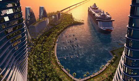 The bay of a modern city...3d render