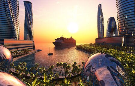 The bay of a modern city illustration