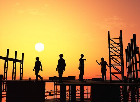Silhouette of the workers on a background of the sky Stock fotó