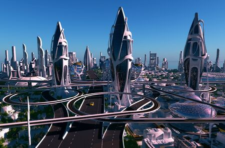 A fantastic city from the future.