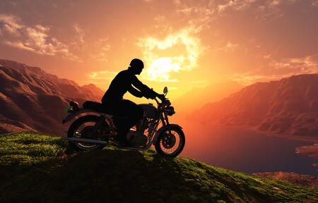 Motorcyclist on the mountain. Stock fotó