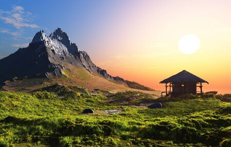 Colorful mountain landscape on background of sky. Stock fotó