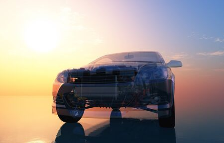 Model cars on a mirror surface,3d render
