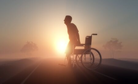 Silhouette of man on a wheelchair, 3d render