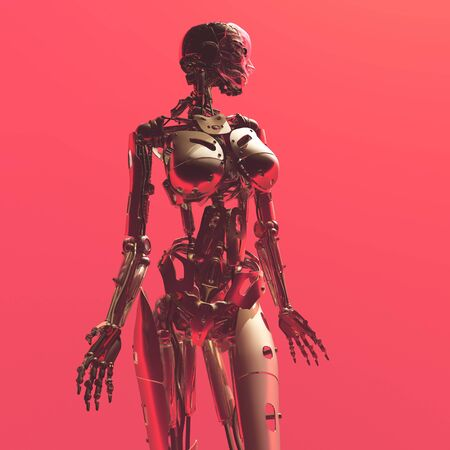 Robot woman on a red background.,3d render Stock fotó