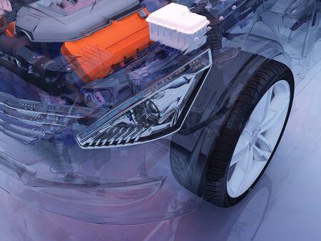 Details of the car on a blue background., 3D render