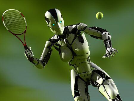 Cyborg woman playing tennis..,3d render Stock fotó