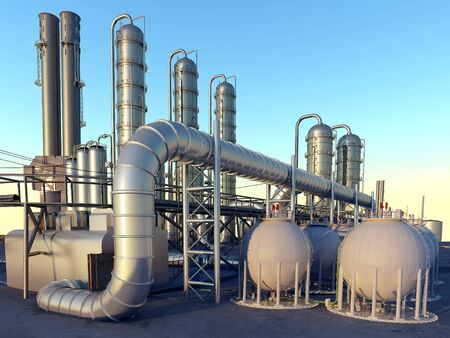 Chemical plant at sunset..3d render
