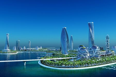 Top view of the city..3d render Stock fotó