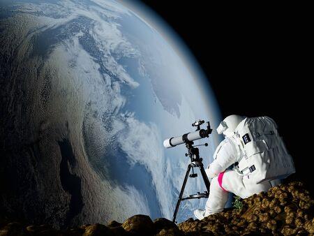 An astronaut looks through a telescope at Earth.