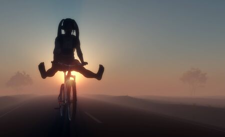 A cheerful girl rides a bicycle in the desert.3d render Stock fotó