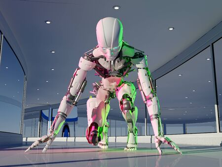 The figure of a cyborg in a modern interior..,3D rendering Stock fotó