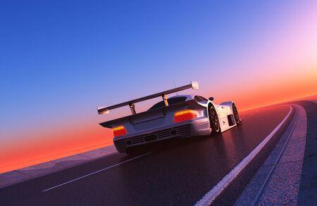 Sports car on the road.,3d render Stock fotó