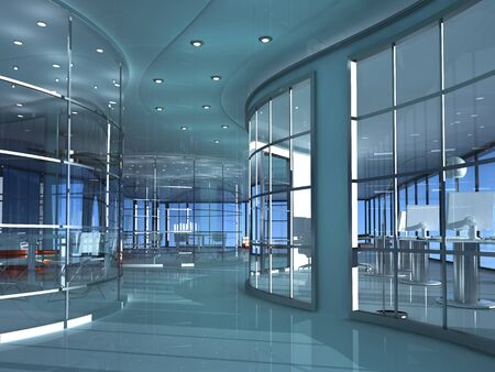 Stylish building inside against the sky.,3D rendering
