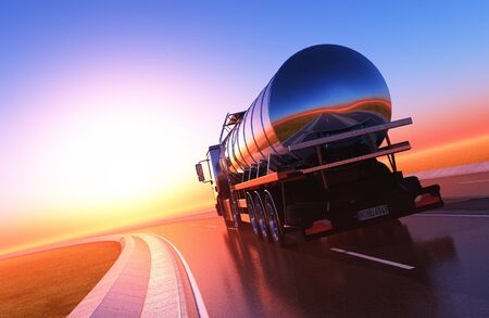 Truck driven by fuel on the road. ,3d render Stock fotó