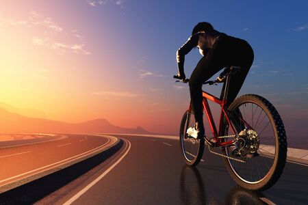 Girl on a bicycle on the road..3d render