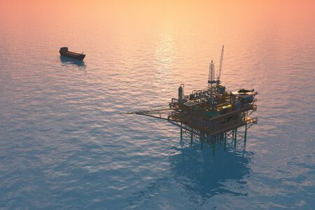 Oil production into the sea from above. 3d render Stock fotó