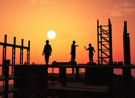 Silhouette of working .,3d render