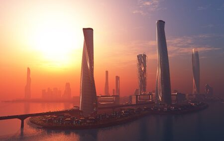 The modern city on the shore in the evening. ,3d render