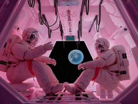 Astronauts sitting inside 3d render