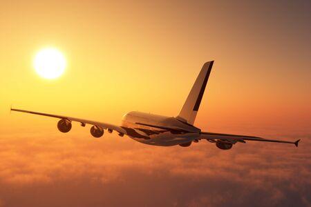Passenger plane above the clouds. 3d render Stock fotó