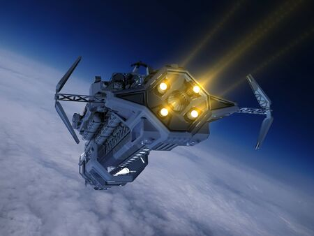 The space ship on the background of the planet.,3D render .