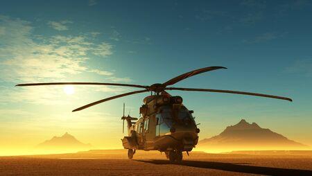 Helicopter in the desert.3d render Stock fotó