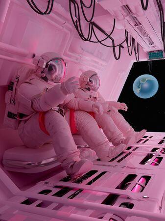 Astronauts sitting inside .3d render