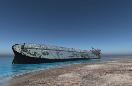 Tanker on the shore after the crash.,3d render