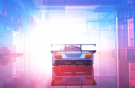 Auto on a graphic background.., 3d render