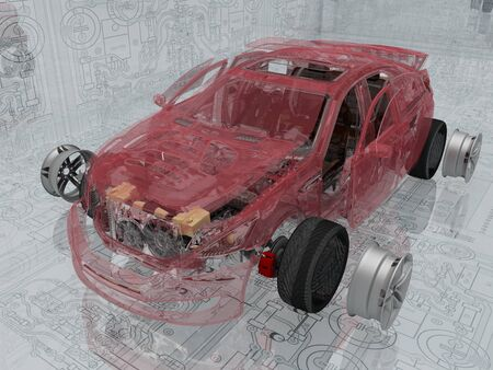 Transparent model cars car on the background of the drawing.,3d render Stock fotó