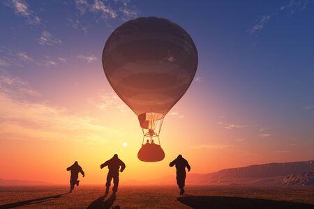 Balloons against the evening sky,3D render Stock fotó