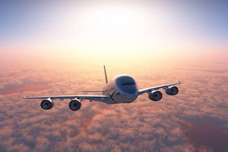 Das Flugzeug ist über den Wolken.,3D-Rendering