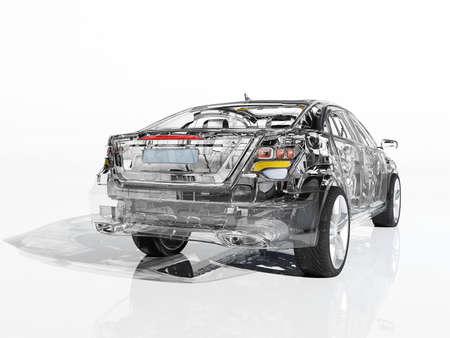 Glass auto on white background..3d render Reklamní fotografie