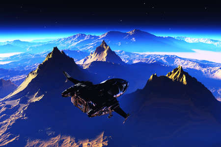Spaceship on the background of the planet. 3d render Banco de Imagens