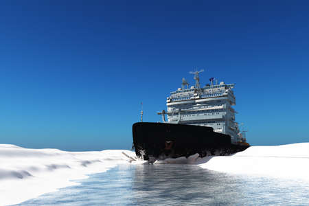 Icebreaker ship on the ice in the sea., 3d render