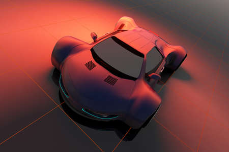 Racing cars on a red background. 3d render